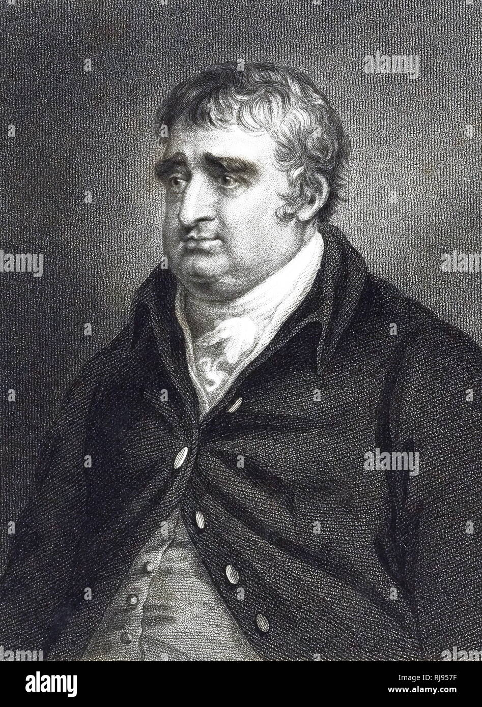 An engraving depicting Charles James Fox (1749-1806) a prominent British Whig statesman. Dated 19th century - Stock Image