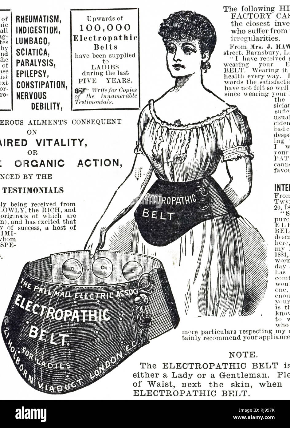 Advertisement for an electropathic belt to tighten the waist of both women and men. Dated 19th century - Stock Image