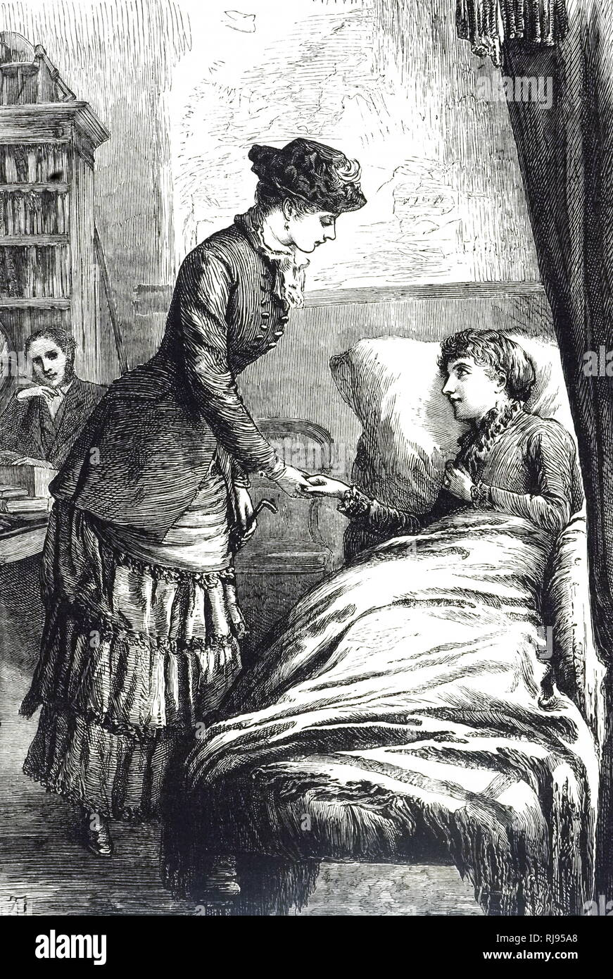 An engraving depicting a woman visiting her sickly friend. Dated 19th century - Stock Image