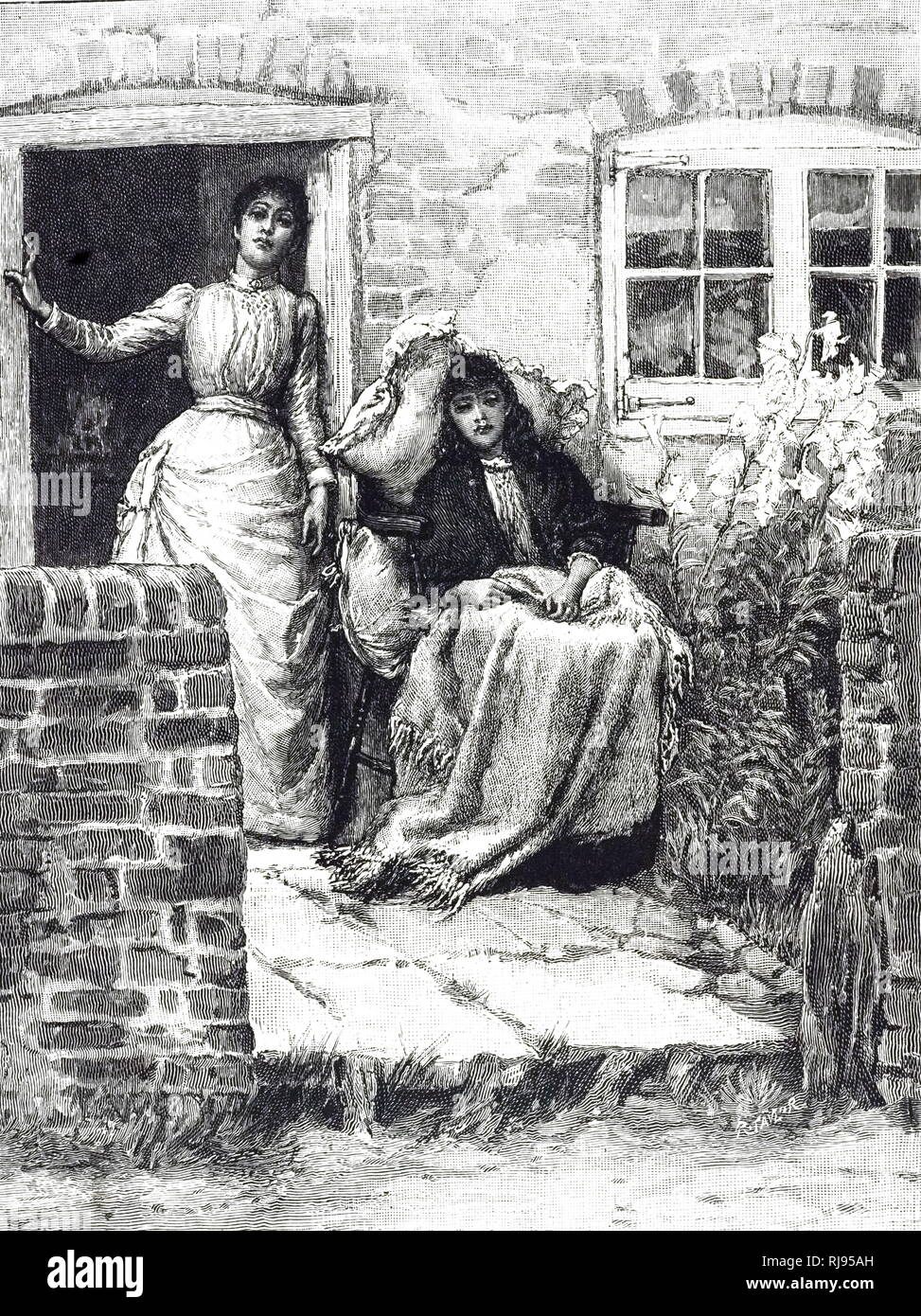 An engraving depicting a sickly woman, most likely suffering from consumption, resting in a chair outside. Dated 19th century - Stock Image