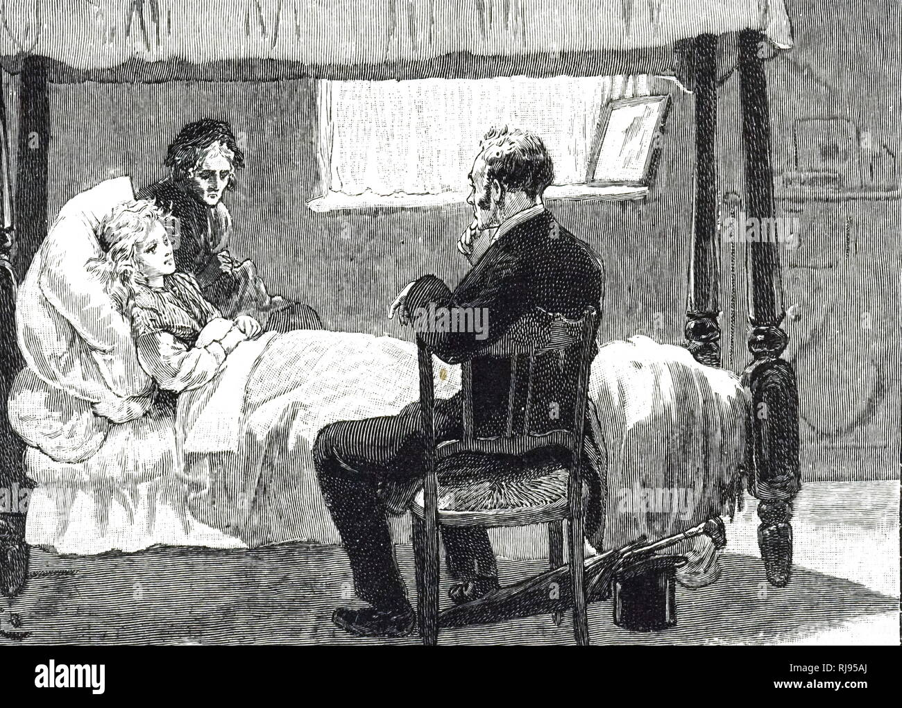 An engraving depicting a sickly woman, most likely suffering from consumption, resting in bed. Dated 19th century - Stock Image