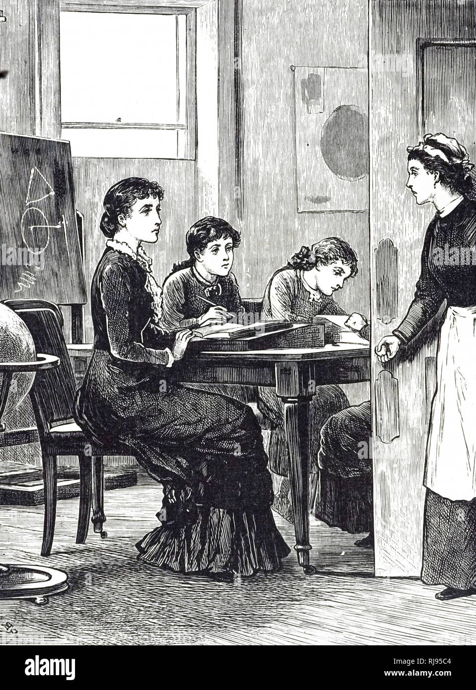 An engraving depicting a governess and her charges in a classroom. Dated 19th century - Stock Image