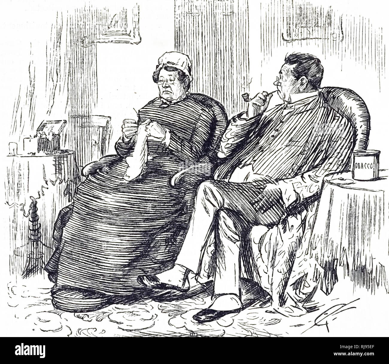 A cartoon commenting on the disinfectant properties of tobacco used as justification by the smoker. Dated 19th century - Stock Image
