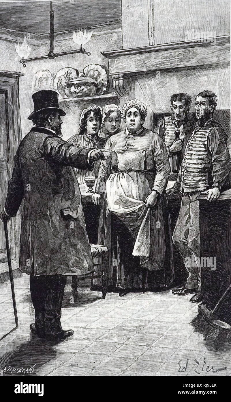 An engraving depicting the domestic staff being dismissed by their employer, who had returned home unexpectedly and found them drinking. Dated 19th century - Stock Image