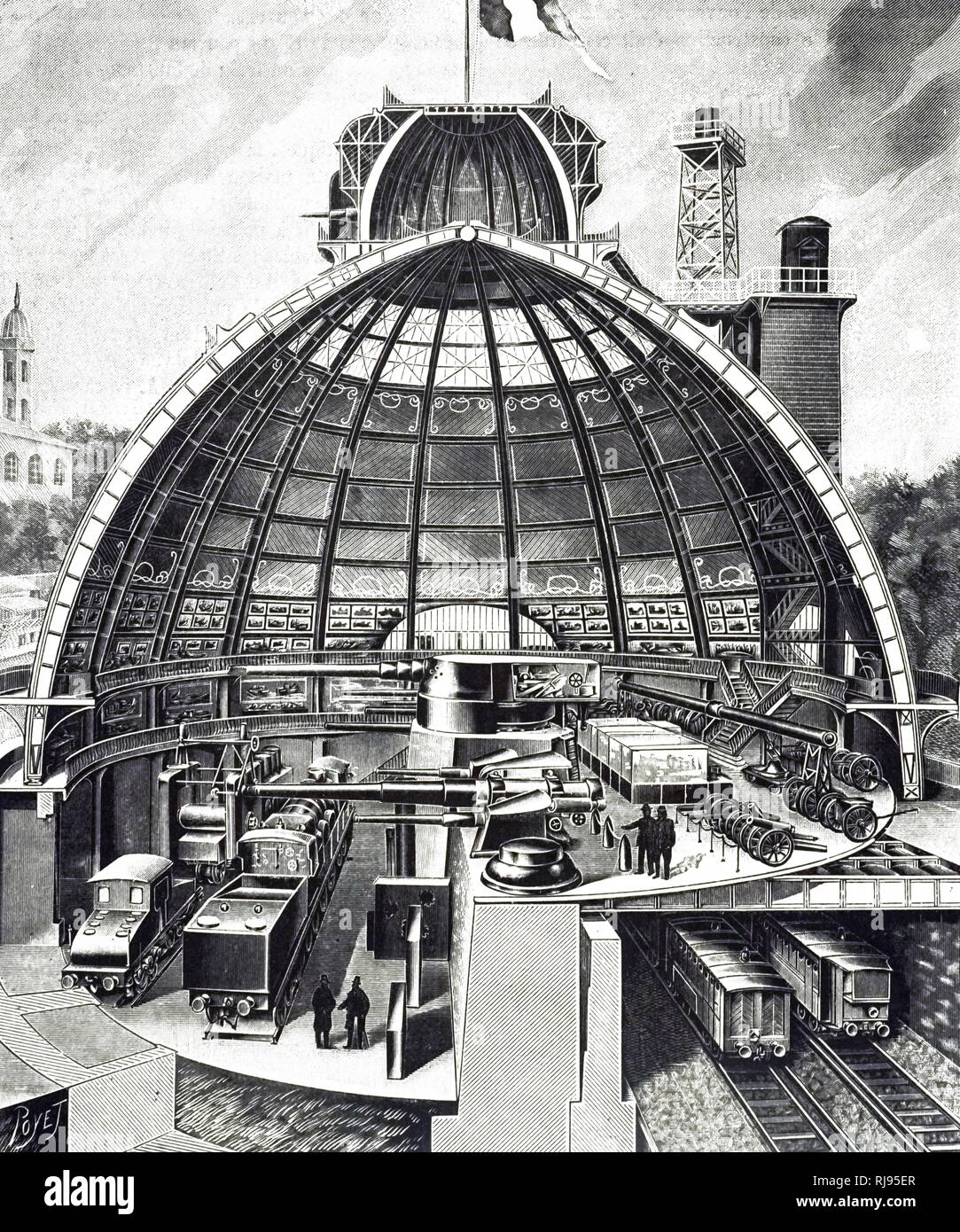 An engraving depicting a cut-away view of the Schneider Company's pavilion. Dated 20th century - Stock Image