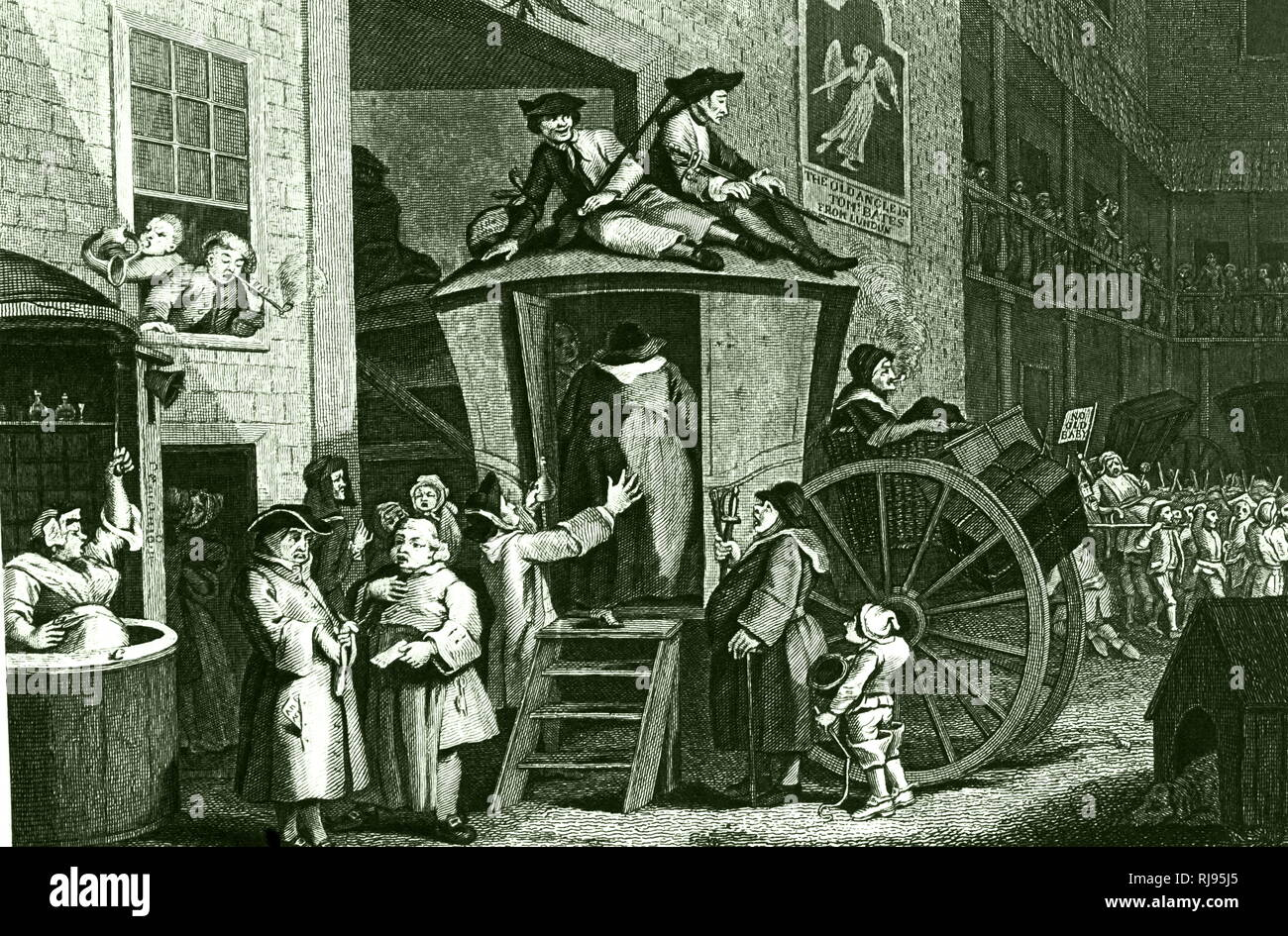An engraving depicting passengers boarding a stagecoach in the yard of a typical galleried Inn thought to be in Chelmsford, Essex. Engraving by William Hogarth (d. 1764) an English painter, printmaker, pictorial satirist, social critic, and editorial cartoonist. Dated 18th century - Stock Image