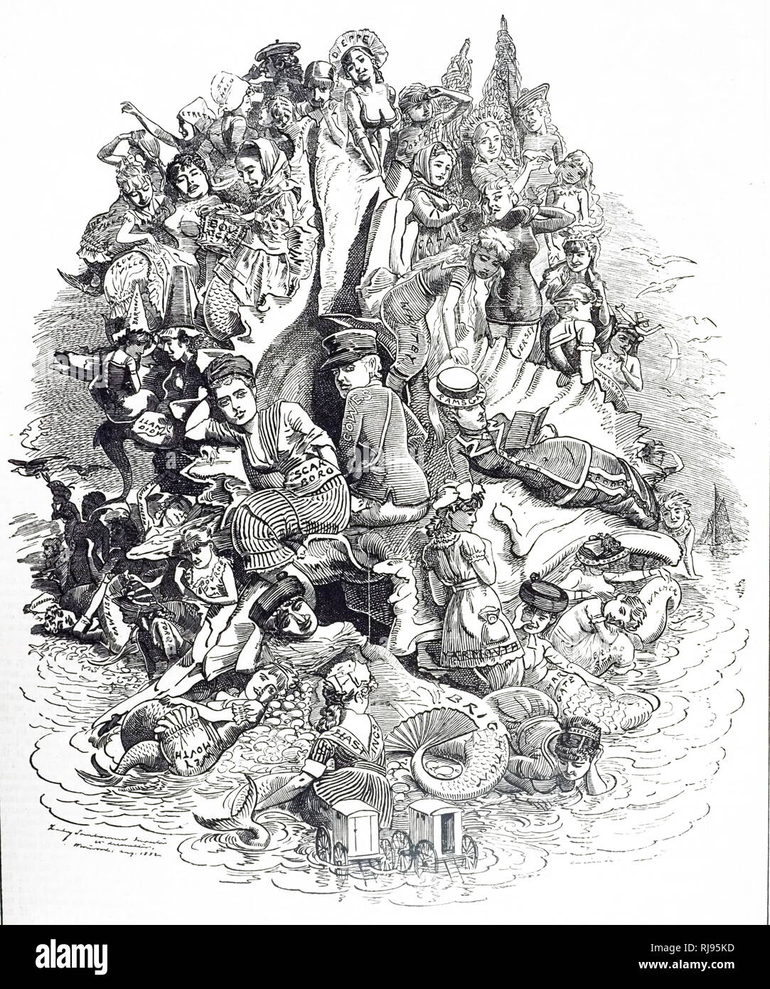 A cartoon commenting on British seaside resorts, each given prominence it earned by the number of visitors it attracted. Illustrated by Edward Linley Sambourne (1844-1910) an English cartoonist and illustrator. Dated 19th century - Stock Image