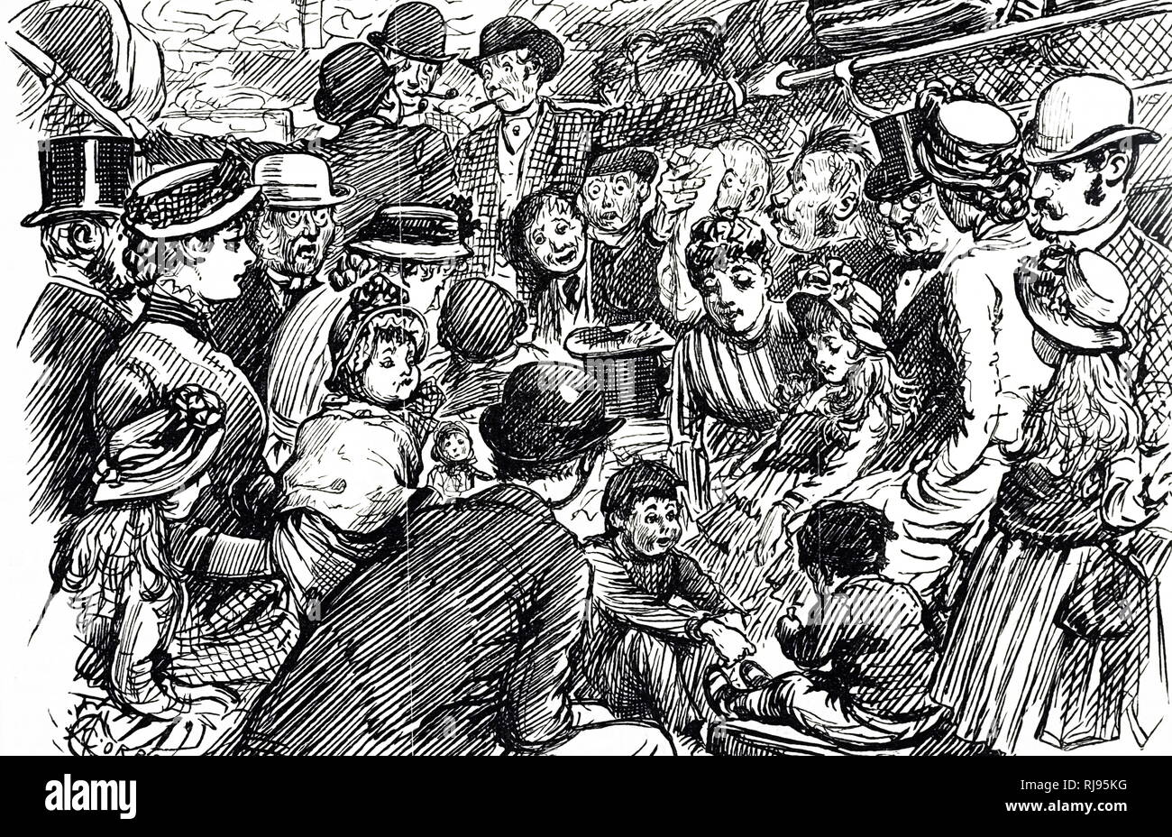 A cartoon depicting a second-class carriage in an excursion train. Dated 19th century - Stock Image