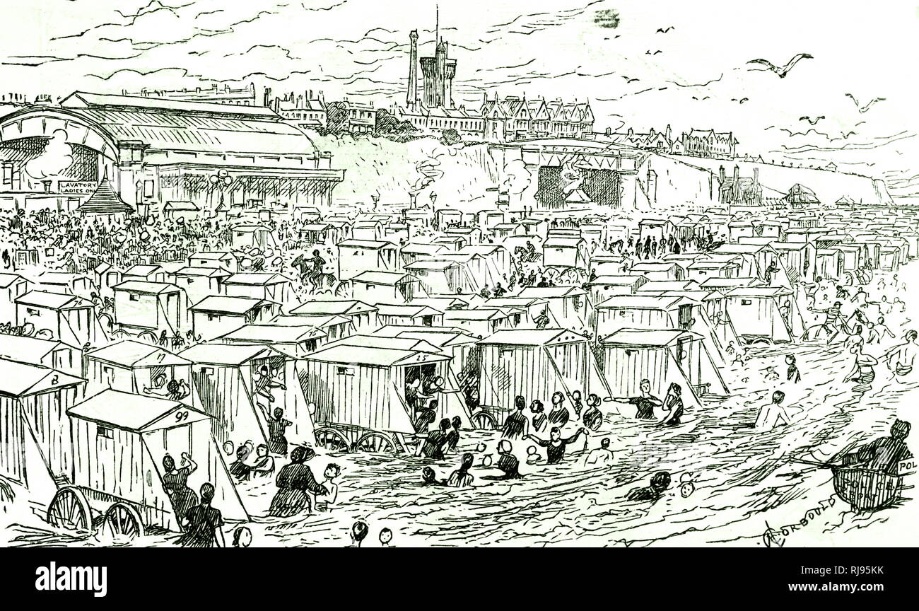 A cartoon depicting a typical Victorian British seaside resort. The beach and sea have been taken over by holidaymakers. Dated 19th century - Stock Image