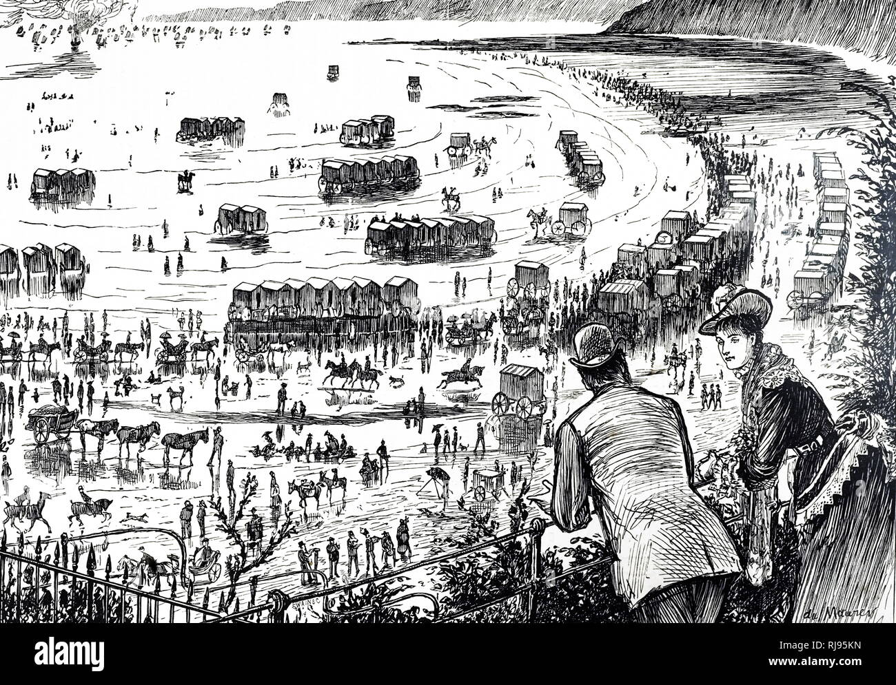 A cartoon depicting the height of the season at Scarborough. Illustrated by George du Maurier (1834-1896) a Franco-British cartoonist and author. Dated 19th century - Stock Image