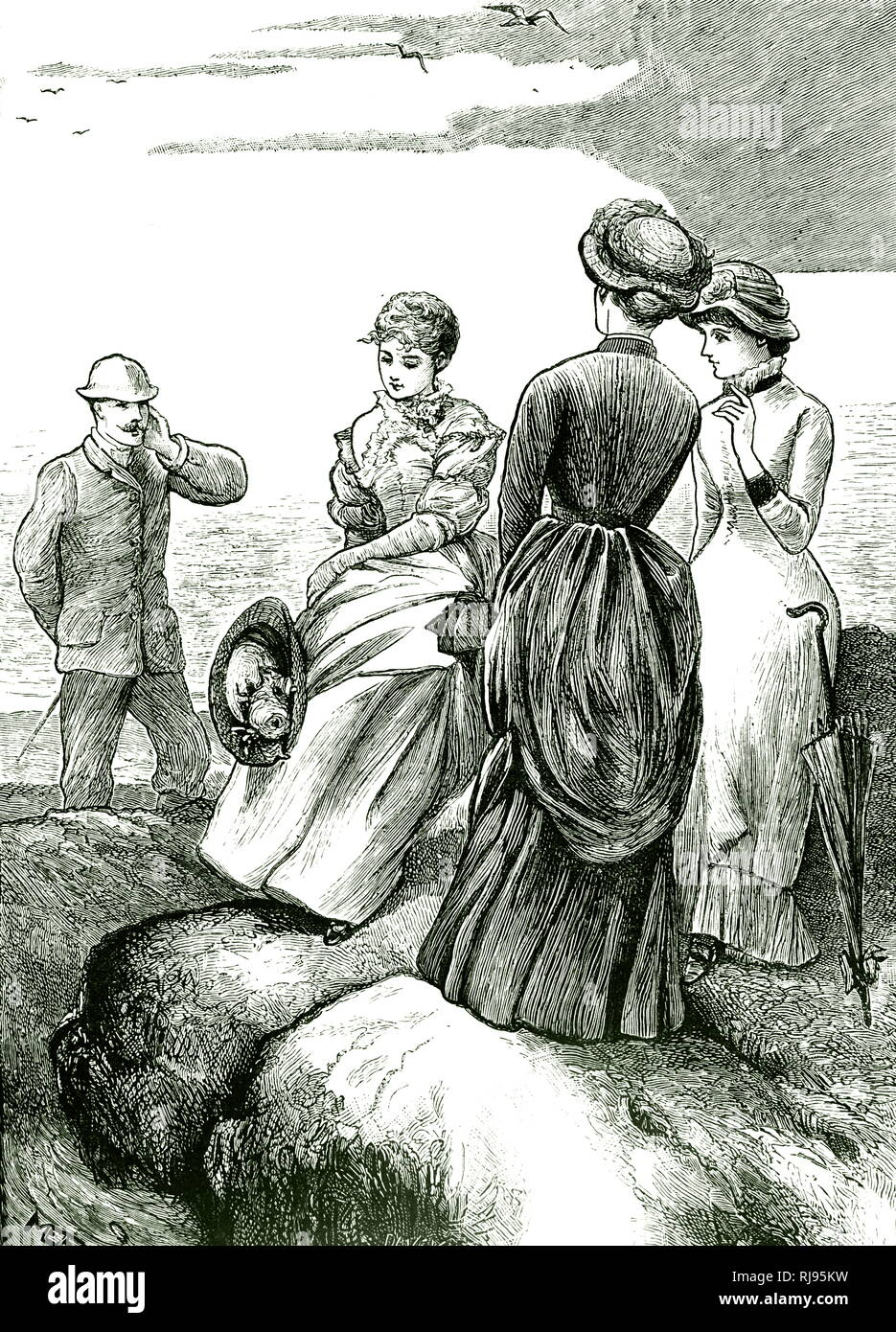 An engraving depicting a day at the seaside. Illustrated by Mary Ellen Edwards (1838-1934) an English artist and illustrator of children's books. Dated 19th century - Stock Image