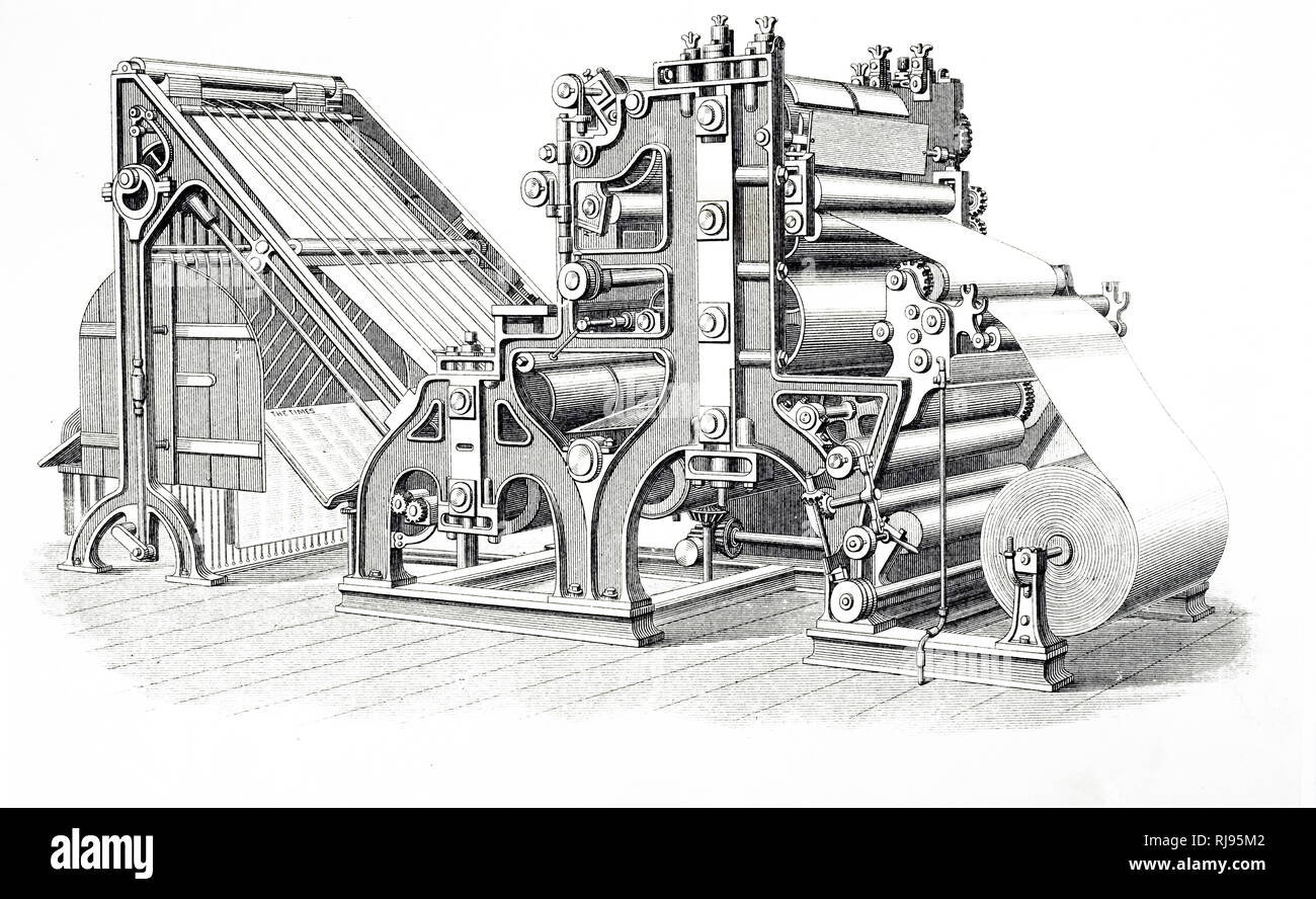 Illustration circa 1890 showing the Walter Rotary Printing press used to print the Times Newspaper. - Stock Image