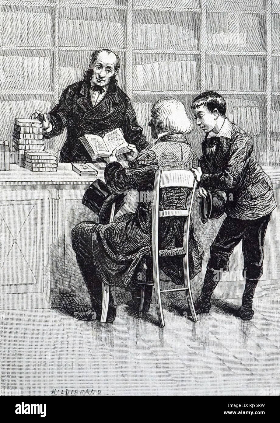 An engraving depicting a bookseller with a customer. Dated 19th century - Stock Image