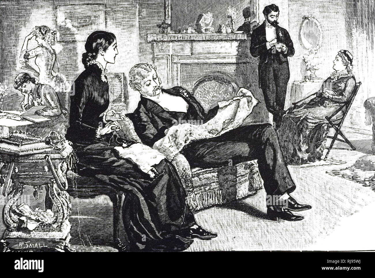 An engraving depicting a middle-class Victorian family. Illustrated by William Small (1843-1929) a Scottish born artist. Dated 19th century - Stock Image