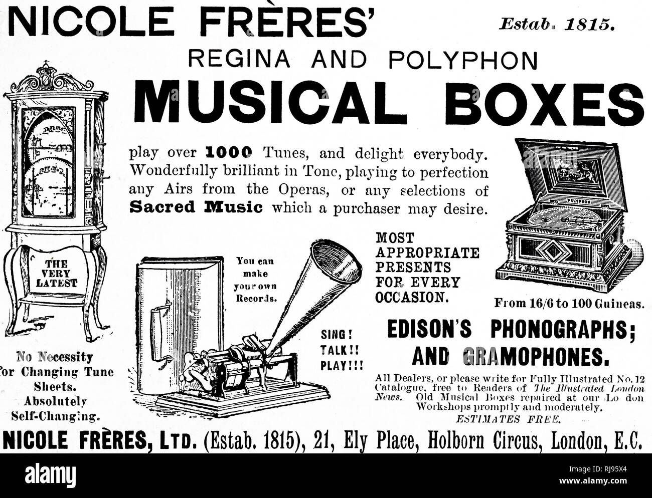 An advertisement for Nicole Frere's Regina and Polyphon musical boxes. Dated 20th century - Stock Image
