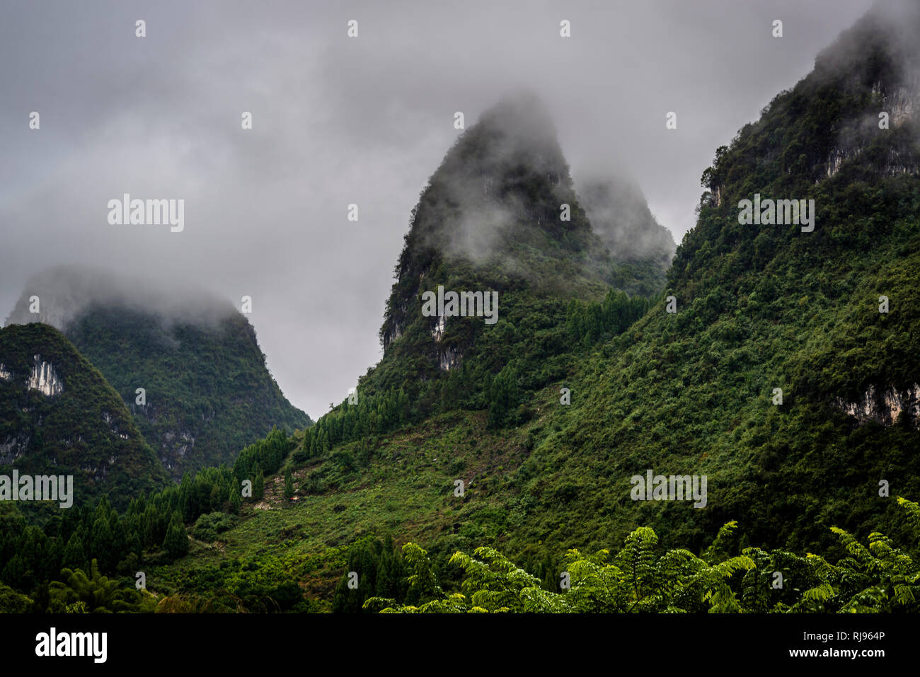Limestone karst peaks enveloped in clouds and mist, near Xingping, Guilin region, Guangxi province, China - Stock Image