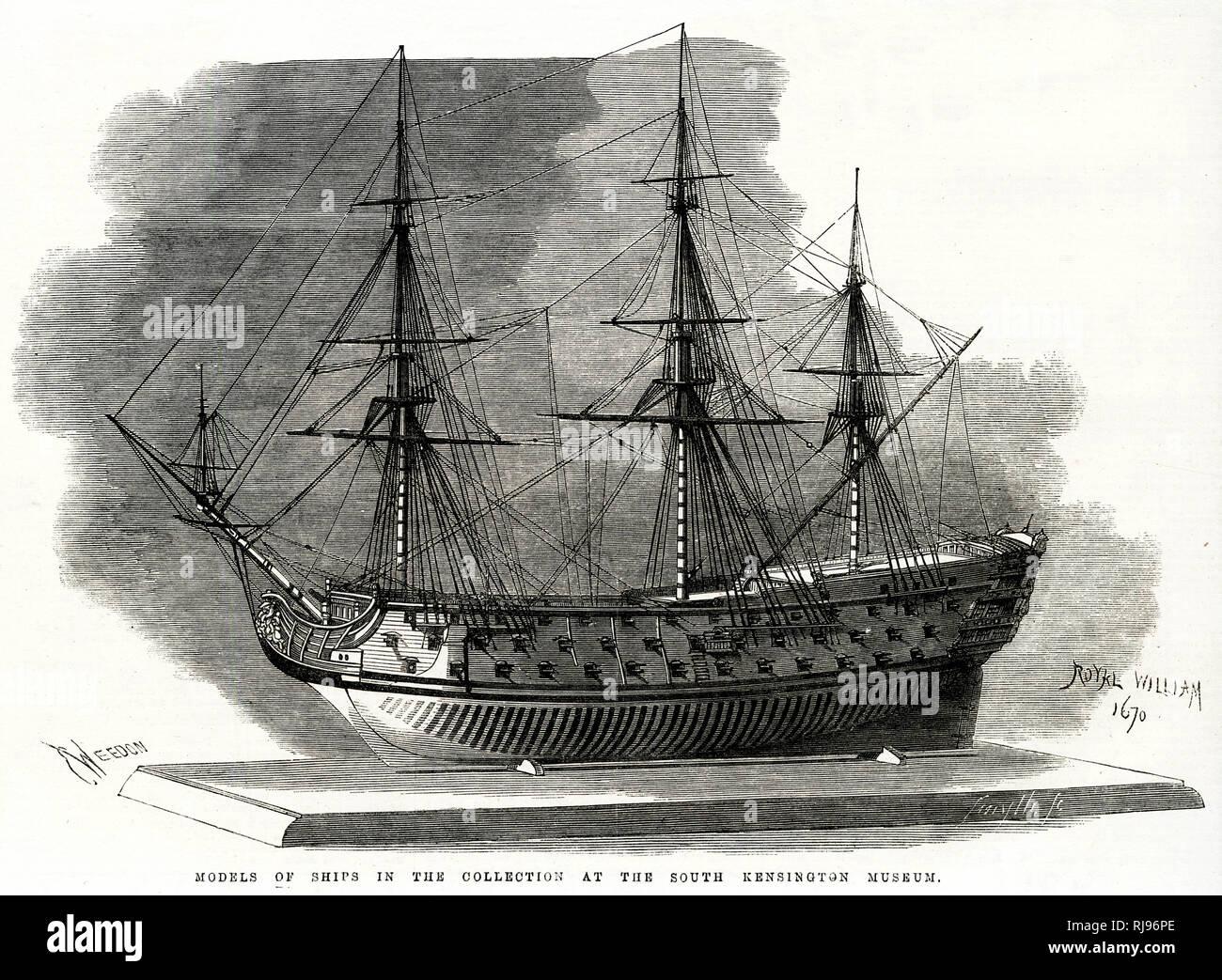 1670 1936 Sailing Ship Print ~ The Prince Flagship To Duke Of York
