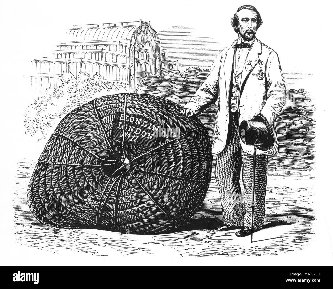 'Blondin' (JEAN-FRANCOIS GRAVELET) - with his tightrope in London Stock Photo