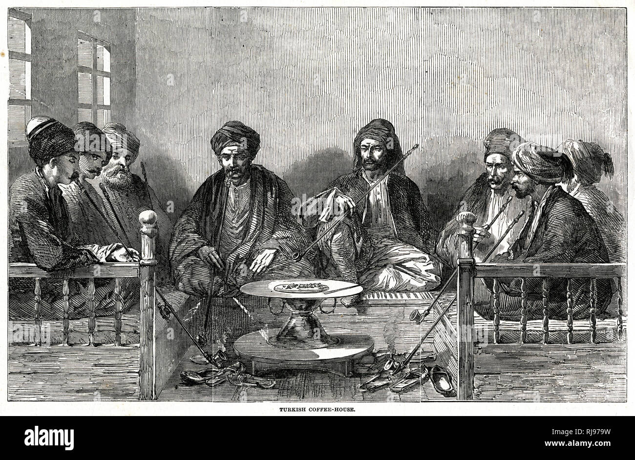 Turkish men seated on cushioned benches, along three sides, smoking the tchibouk or narghile. Stock Photo