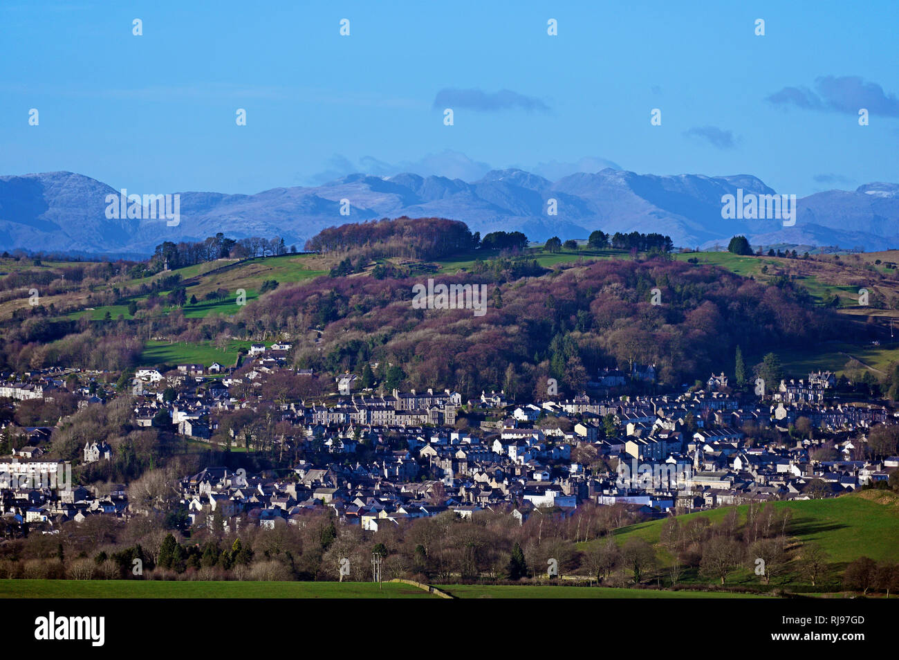 Kendal and the Lake District Fells. Cumbria, England, United Kingdom, Europe. - Stock Image