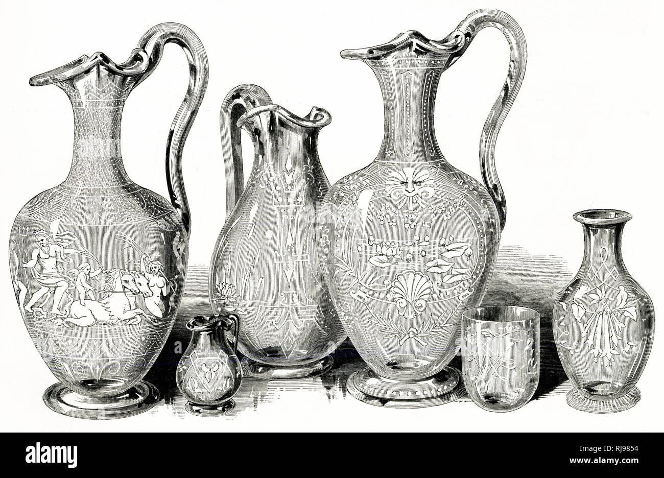 Engraved glassware at the Great Exhibition, Hyde Park, London. - Stock Image