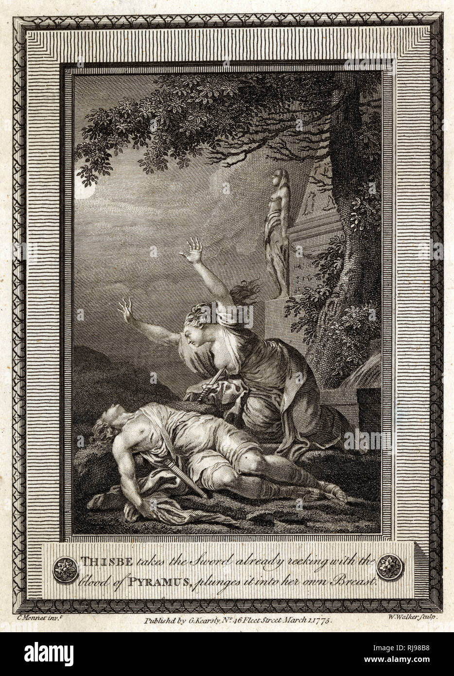 Babylonian youth Pyramus has a rendezvous with Thisbe : she, scared by lion, flees ; he finds bloody veil, assumes her dead, kills himself ; she finds him dead, stabs herself - Stock Image