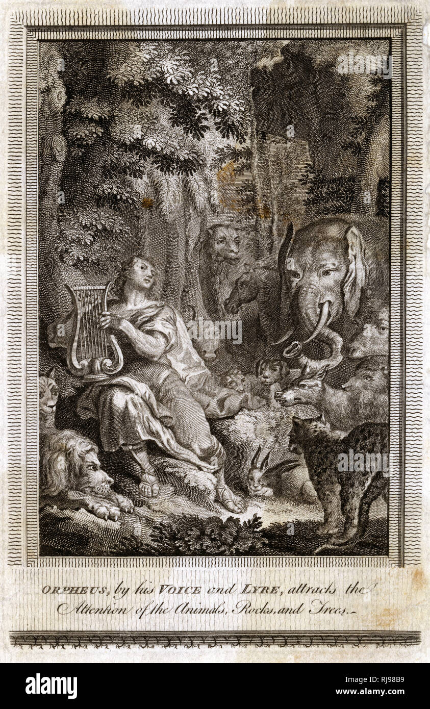 He charms the animals with his melodious singing and sensitive lyre-playing - Stock Image