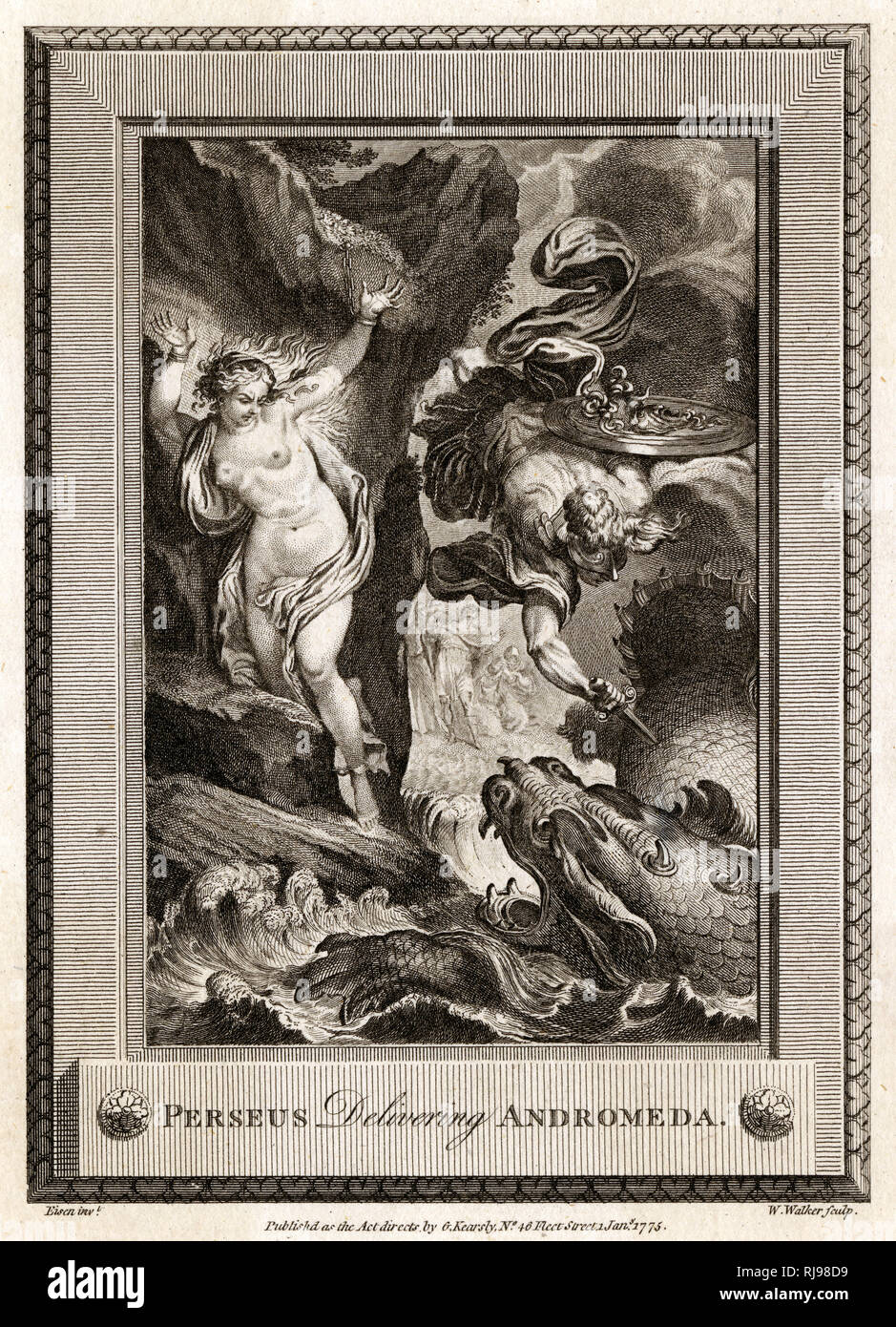 Perseus rescues Andromeda from a fearsome monster which had planned on eating her - Stock Image