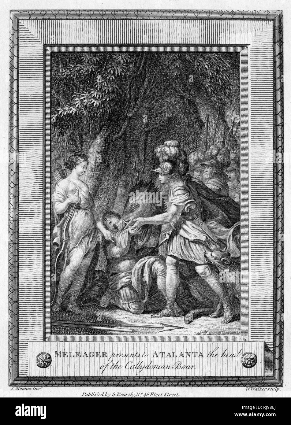 Meleager presents Atalanta, princess of Calydon, with the head of the great boar because, though he was the one who killed it, she first wounded and weakened it - Stock Image
