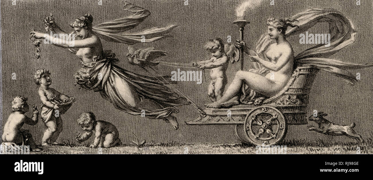 Aphrodite travels in her chariot, drawn by two very strong doves, while Cupid holds the reins : Flora sprinkles the way with flowers, and a hare follows - Stock Image