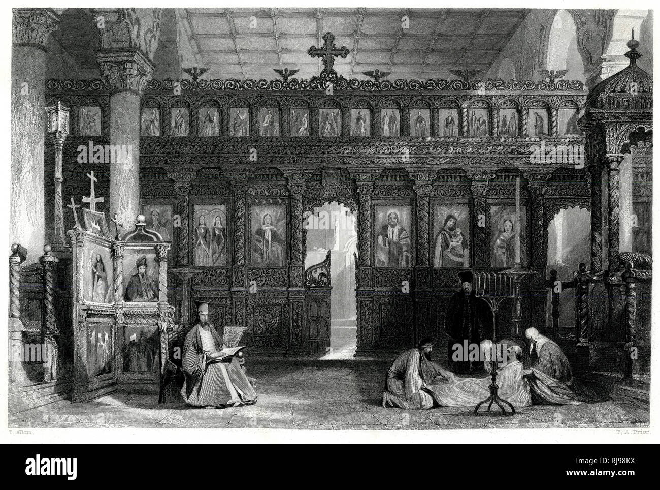A maniac, supposed possessed by a demon, is exorcised by the priests of the church of Saint Theodore, at Pergamos (in present-day Turkey) - Stock Image