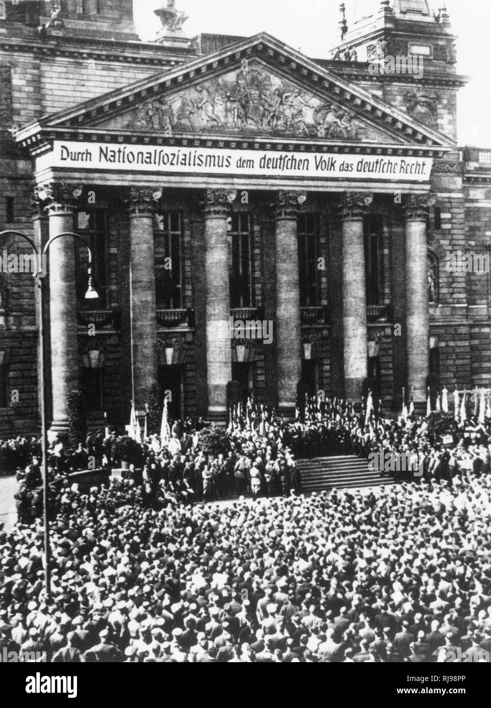 Nazi rally in front of the Reichstag. Stock Photo