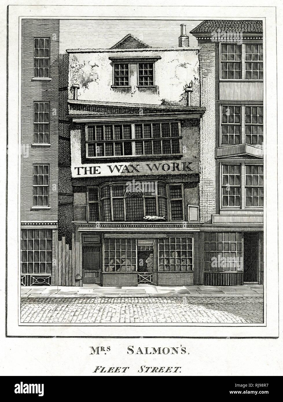 MRS SALMON'S WAXWORKS, Fleet Street, London : a favourite haunt of William Hogarth Stock Photo
