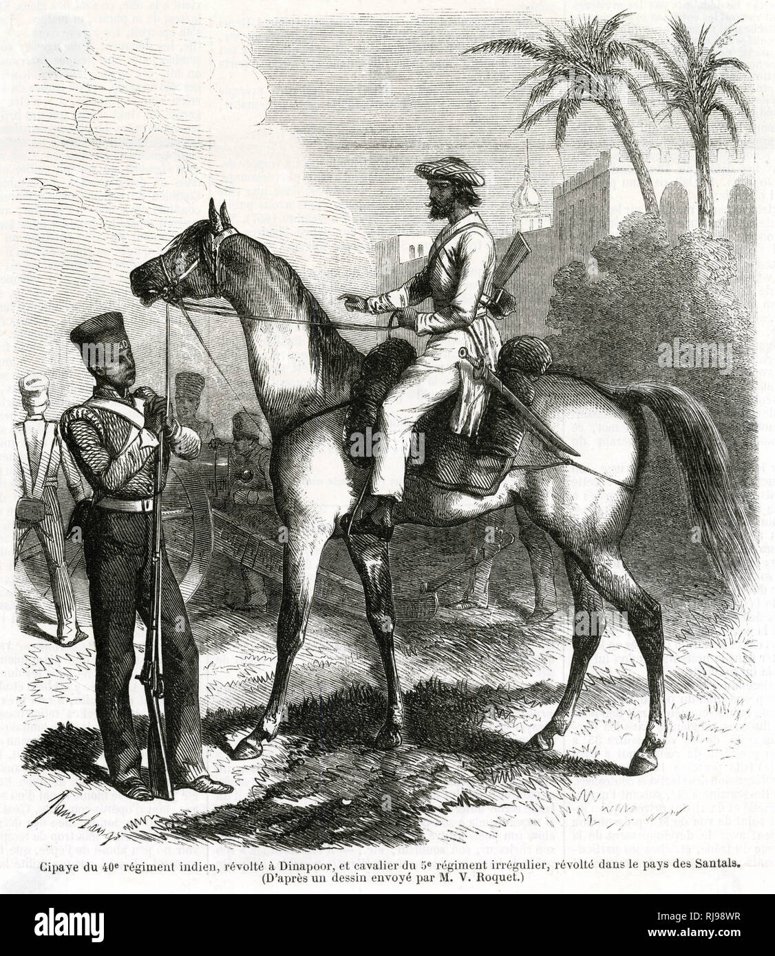 Indian sepoy of the 40th Indian Regiment (left) and a cavalryman of
