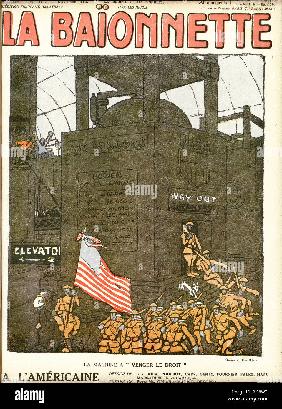 Front cover design, La Baionnette, an issue focusing on the Americans, showing a symbolic image of the American war machine, with soldiers pouring out of it to support the Allied cause. Stock Photo