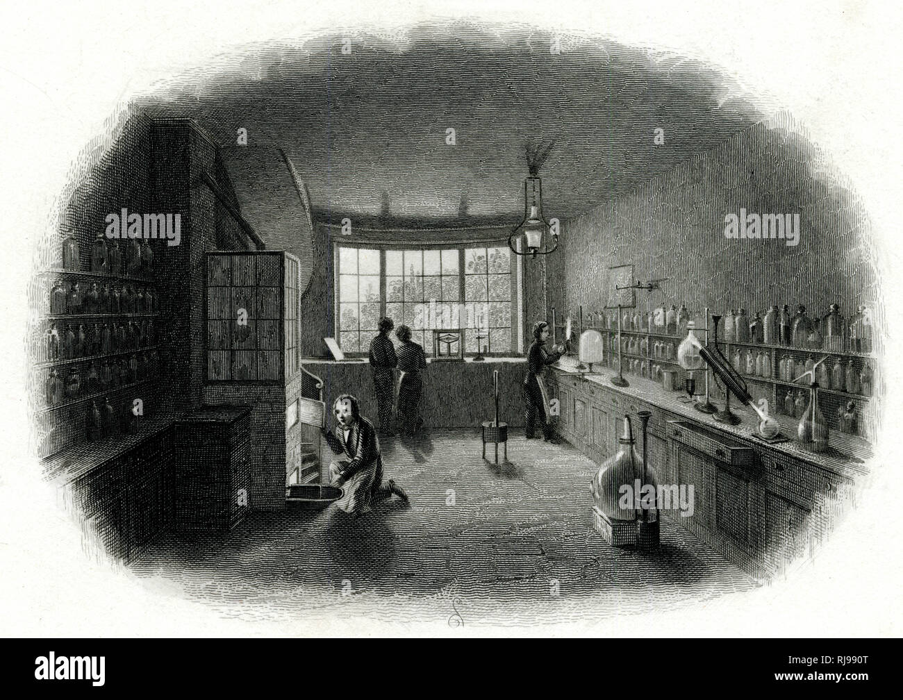 Scientists at work in a laboratory. Stock Photo