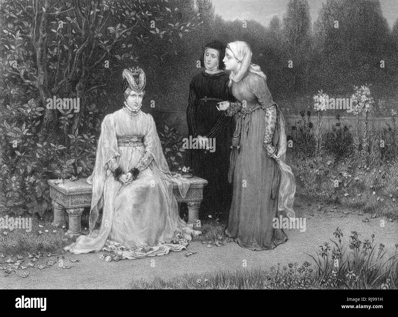 Shakespeare's Richard II, Isabella, the Queen and her ladies in waiting outside in the garden Stock Photo