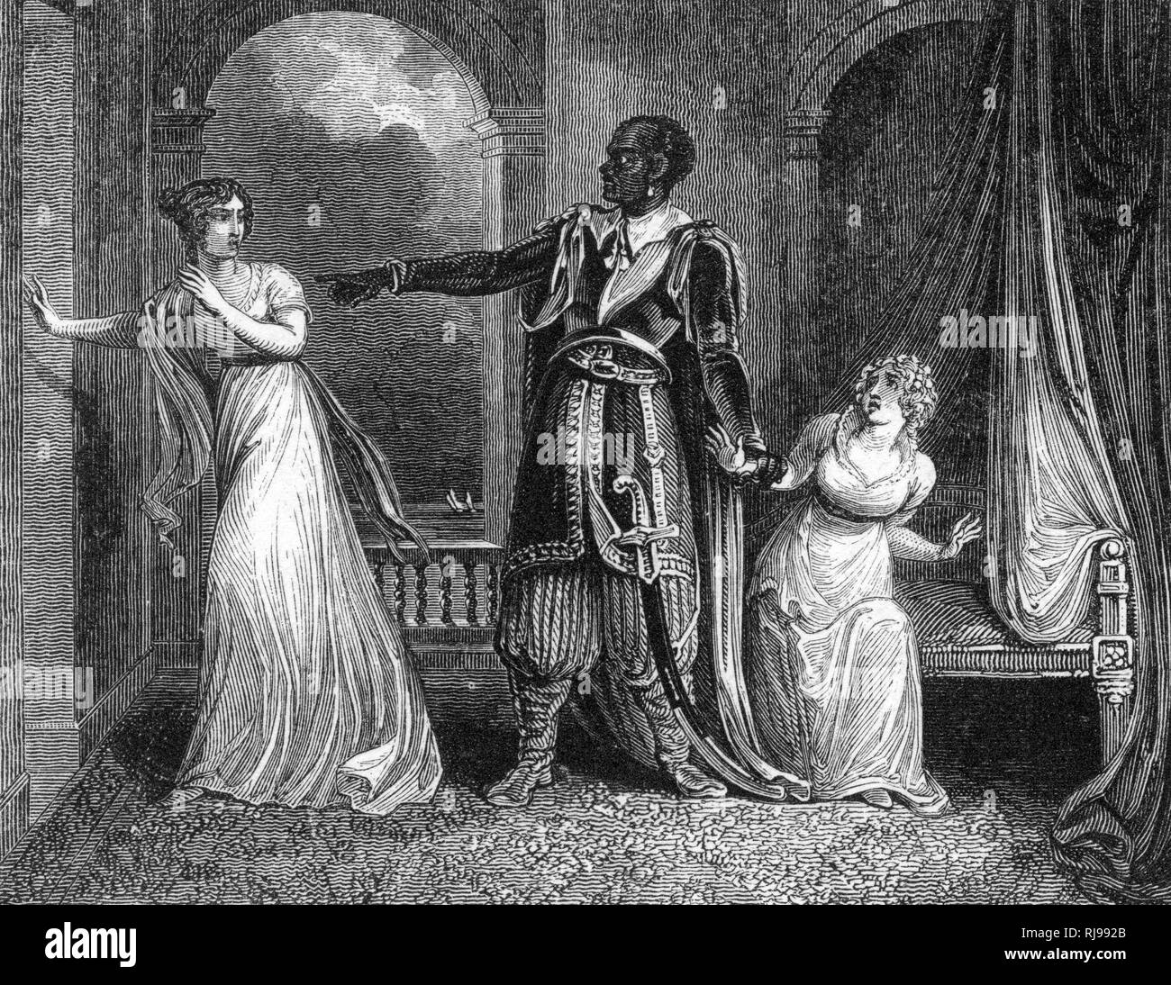 Act IV, Scene II Othello questions Desdemona about her supposed adultery Stock Photo