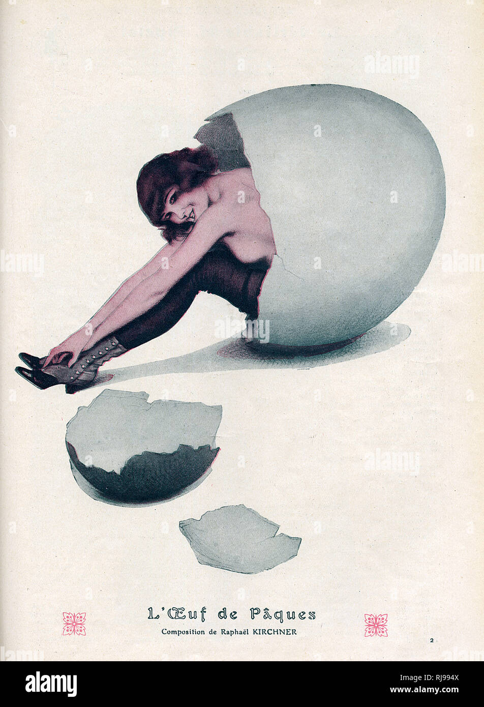 A nearly naked young woman emerges from an Easter egg. Stock Photo