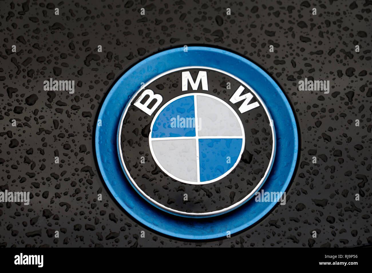 BMW-Logo, BMW, BMW-Emblem an der Motorhaube, Firmenlogo, BMW Elektro-Auto - Stock Image