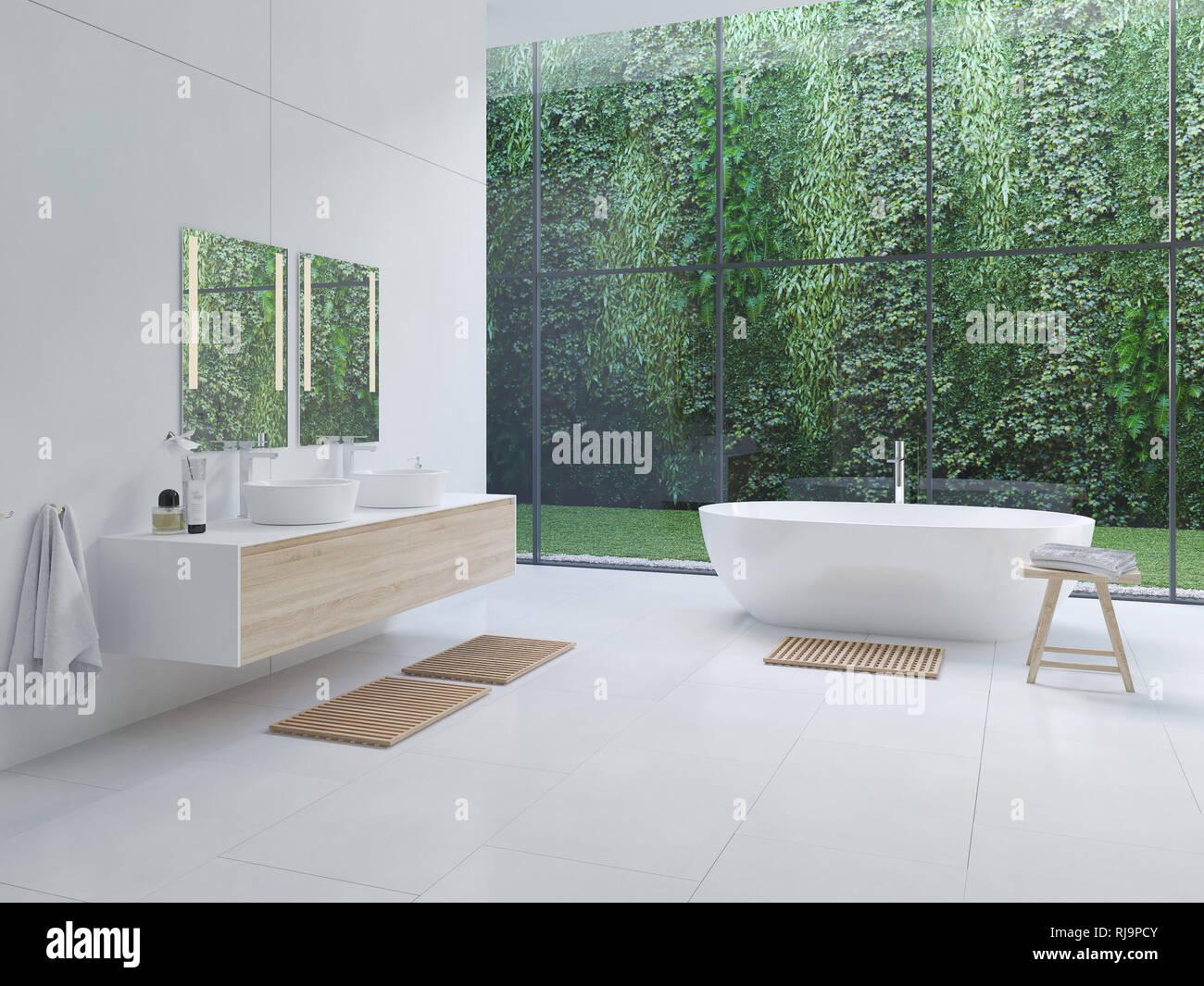 3D new modern zen bathroom with tropic plants. 3d rendering ... Zen Bathroom Modern Interior Design on bathroom with black accents, modern bathroom interior design, powder room interior design,