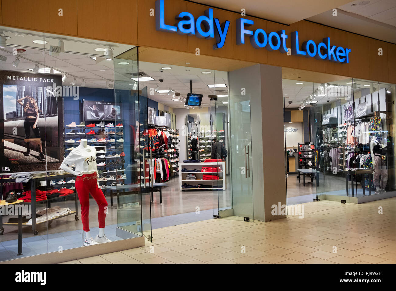 34de9ede31 The exterior of the Lady Foot Locker store at the Queens Center Mall in  Elmhurst