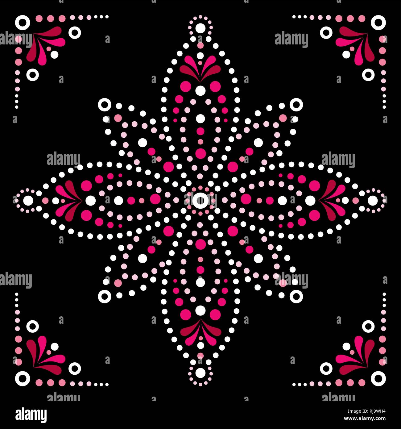 Dot Art Vector Flower Traditional Aboriginal Dot Painting Design