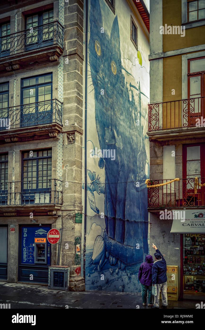 Europa, Portugal, Porto, Altstadt, Fassade, Malerei - Stock Image