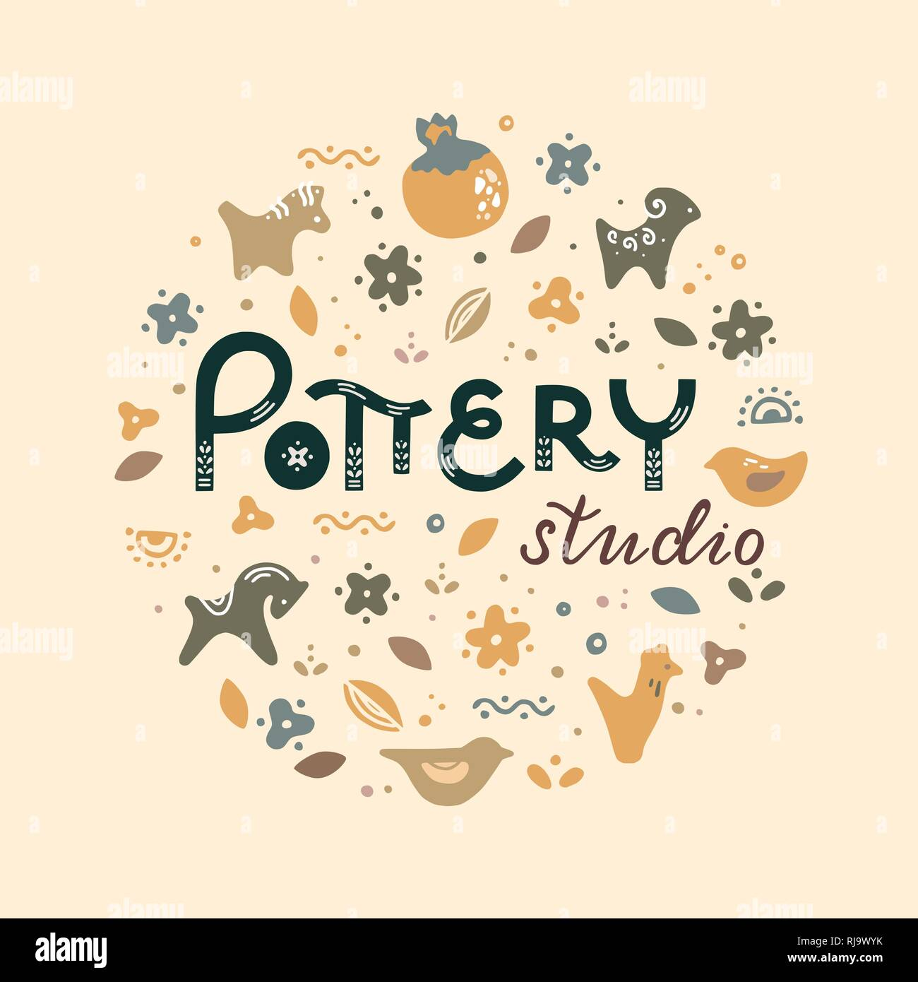 Circle template pottery workshop, ceramics classes banner illustration. Pottery wheel, potter, clay horse, and other ceramic products in the icon set in flat style with a doodle. - Stock Vector