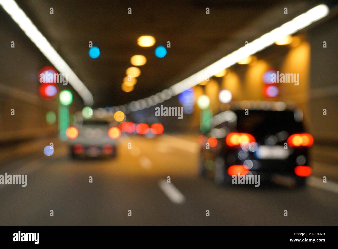 Deutschland, Bayern, München, Mittlerer Ring, Straßentunnel, Verkehr, Unschärfe, Lichter Stock Photo