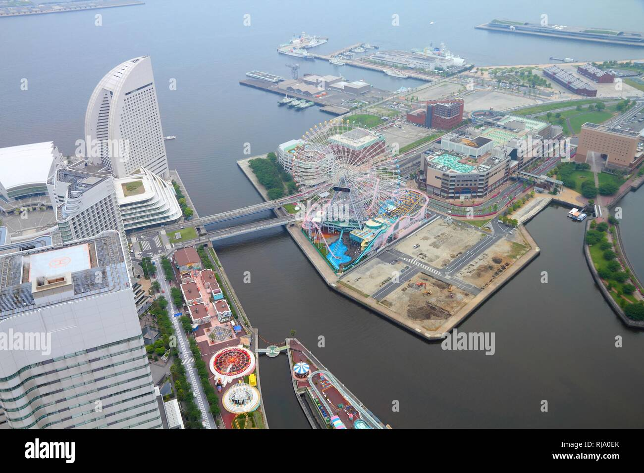 Yokohama, Japan - aerial view in second largest city in Japan, capital city of Kanagawa prefecture - Stock Image