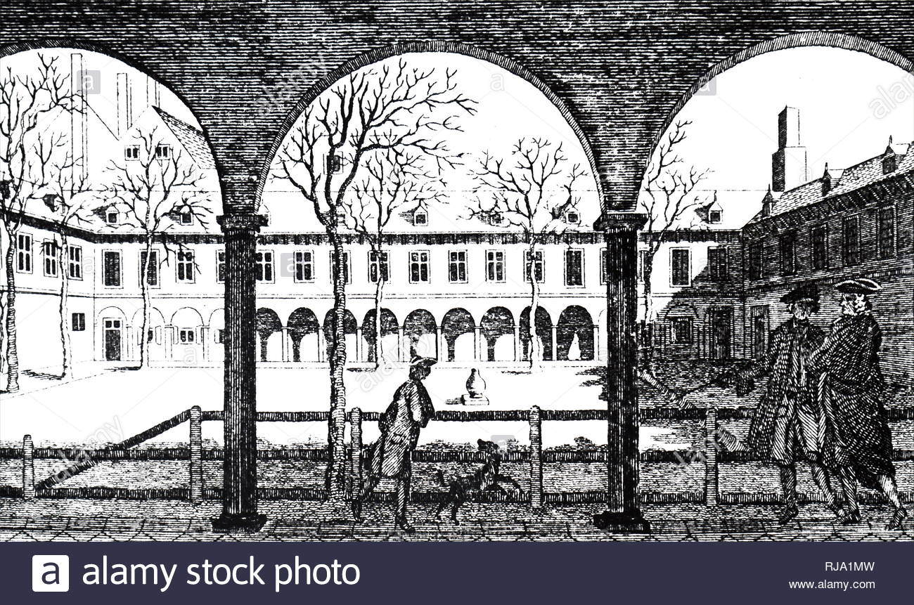 Engraving depicting the courtyard of Gresham College. Gresham College is an institution of higher learning located at Barnard's Inn Hall off Holborn in Central London, England. Dated 18th century - Stock Image