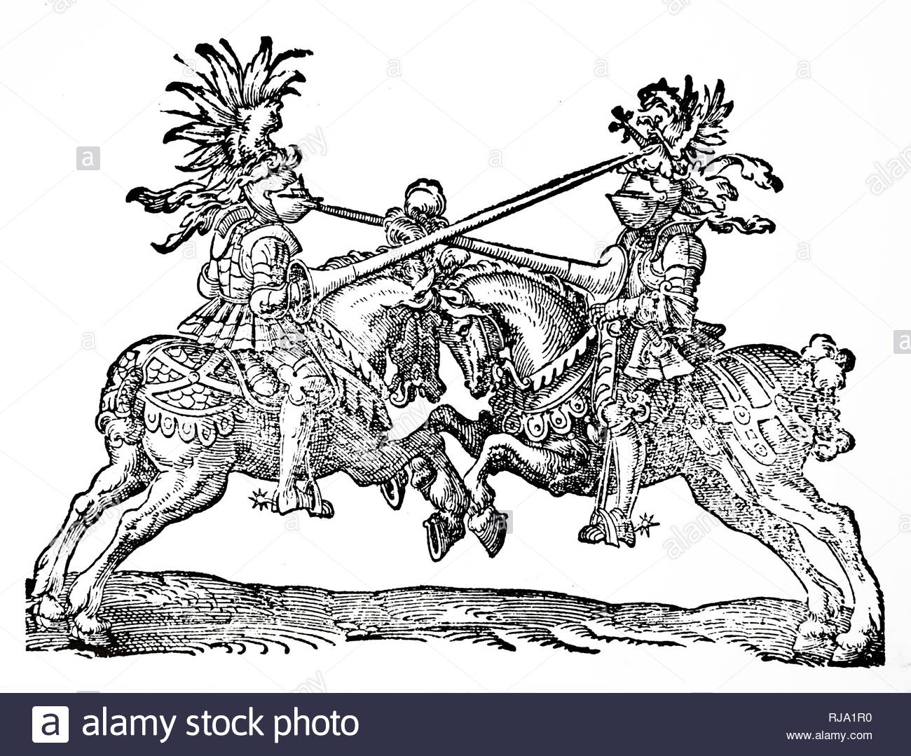 Woodcut print depicting knights jousting at a tournament. Print by Jost Amman (1539-1591) a Swiss-German artist, celebrated chiefly for his woodcuts, done mainly for book illustrations. Dated 16th century - Stock Image