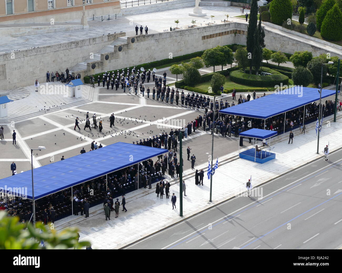 Greek civic and political leaders including President Prokopis Pavlopoulos in Athens for the 2018 Independence Day Celebrations - Stock Image